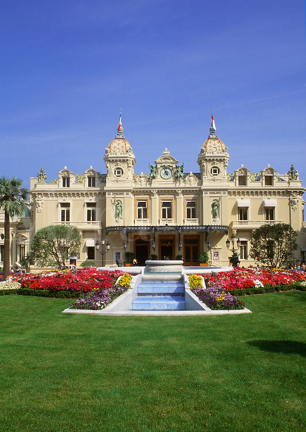 The ornate exterior and grounds of a Monte Carlo casino. Monaco.