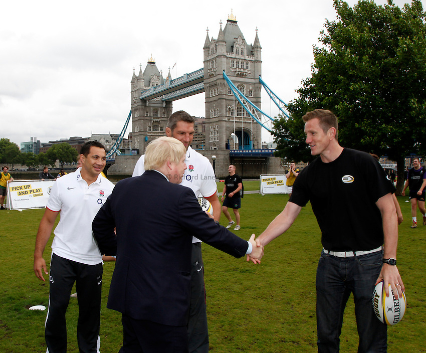 Photo: Richard Lane/Richard Lane Photography. O2 Touch Launch, an RFU initiative aiming to get England playing touch rugby at Potters Field, London. 17/06/2011. Mayor of London, Boris Johnson meets England World Cup winner, Will Greenwood.
