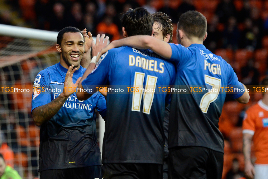Callum Wilson (left) of Bournemouth celebrates scoring his goal  and putting Bournemouth two nil up - Blackpool vs AFC Bournemouth - Sky Bet Championship Football at Bloomfield Road, Blackpool, Lancashire - 20/12/14 - MANDATORY CREDIT: Greig Bertram/TGSPHOTO - Self billing applies where appropriate - contact@tgsphoto.co.uk - NO UNPAID USE