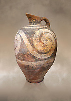 Minoan decorated ewer jug  from the  Knossos-Temple Repositories 1650-1550 BC, Heraklion Archaeological  Museum.