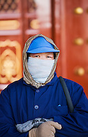 Cleaner at the Ghost Corridor of the Ming Dynasty Temple of Heaven, Beijing, China