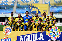 BARRANCABERMEJA - COLOMBIA, 04-08-2019: Jugadores del Alianza posan para una foto previo al partido por la fecha 4 de la Liga Águila II 2019 entre Alianza Petrolera y Envigado F.C. jugado en el estadio Daniel Villa Zapata de la ciudad de Barrancabermeja. / Players of Alianza pose to a photo prior match for the date 4 as part of Aguila League II 2019 between Alianza Petrolera and Envigado F.C. played at Daniel Villa Zapata stadium in Barrancabermeja city. Photo: VizzorImage / Jose Martinez / Cont