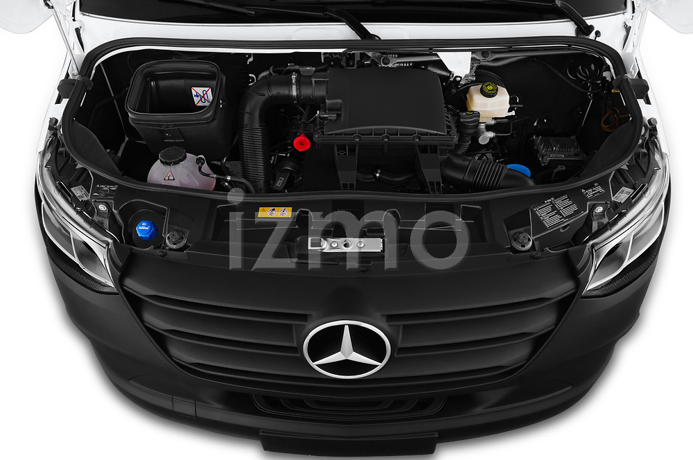 Car stock 2019 Mercedes Benz Sprinter Cargo Van Base 4 Door Cargo Van engine high angle detail view