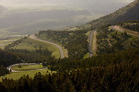 Switchbacks in the road are seen below Dead Indian Summit Overlook in Shoshone National Forest in Wyoming on Wednesday, May 24, 2017. (Photo by James Brosher)