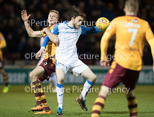 Motherwell v St Johnstone&hellip;06.02.18&hellip;  Fir Park&hellip;  SPFL<br />Murray Davidson battles with Andy Rose<br />Picture by Graeme Hart. <br />Copyright Perthshire Picture Agency<br />Tel: 01738 623350  Mobile: 07990 594431
