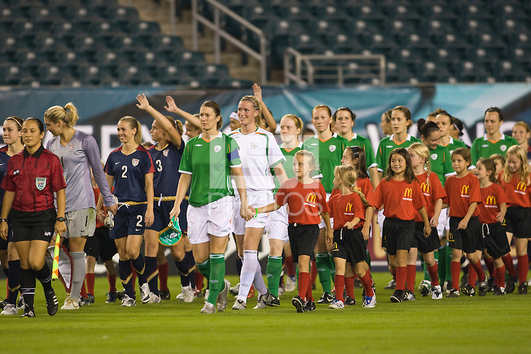 The United States (USA) and Republic of Ireland (IRE) come onto the field for pre-game introductions. The United States Women's National Team (USA) defeated the Republic of Ireland (IRL) 2-0 during an international friendly at Lincoln Financial Field in Philadelphia, PA, on September 13, 2008.
