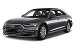 2018 Audi A8 Base 4 Door Sedan angular front stock photos of front three quarter view