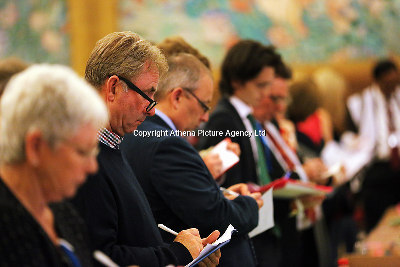 Pictured: Party representatives observe the counting of the ballots. Friday 09 June 2017<br />