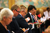 Pictured: Party representatives observe the counting of the ballots. Friday 09 June 2017<br />Re: Counting of ballots at Brangwyn Hall for the general election in Swansea, Wales, UK