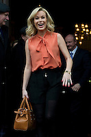Britains Got Talent judges leaving the Balmoral Hotel and head for the Festival Theatre, Edinburgh, Scotalnd, 11th February, 2012 Pictured Amanda Holden gets a cheer from the large crowd as she appears in the hotel doorway..Picture:Scott Taylor Universal News And Sport (Europe) .All pictures must be credited to www.universalnewsandsport.com. (Office)0844 884 51 22.