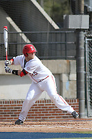 Ball State Cardinals Catcher Jarett Rindfleisch (25) at bat during a game against the University of Kentucky Wildcats at Brooks Field on the campus of University of North Carolina-Wilmington on February 13, 2015 in Wilmington, North Carolina. Kentucky defeated Ball State 11-7. (Robert Gurganus/Four Seam Images)