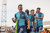 Matt Bloomfield of Wycombe Wanderers celebrates his teams win during the Sky Bet League 2 match between Grimsby Town and Wycombe Wanderers at Blundell Park, Cleethorpes, England on 4 March 2017. Photo by Andy Rowland / PRiME Media Images.