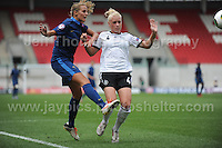 Sandie Toletti of France battles with Merle Barth of Germany during the UEFA Womens U19 Semi-Final at Parc y Scarlets Wednesday 28th August 2013. All images are the copyright of Jeff Thomas Photography-www.jaypics.photoshelter.com-07837 386244-Any use of images must be authorised by the copyright owner.