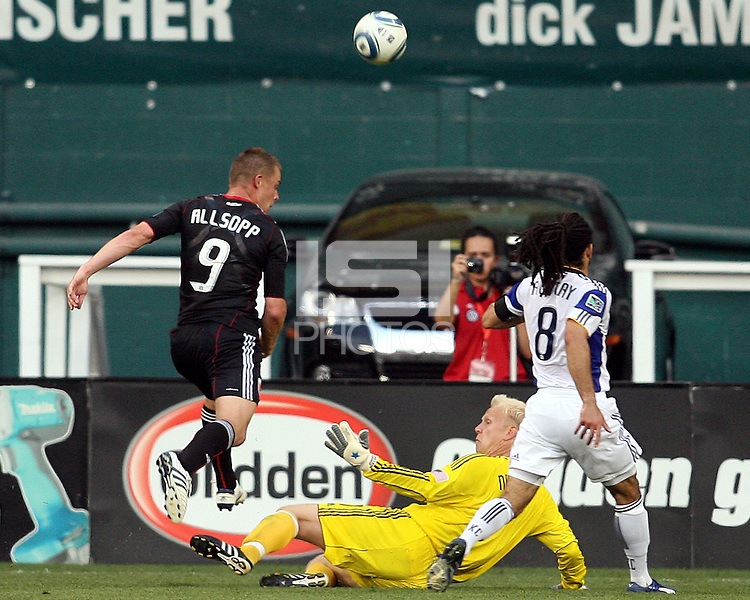 Daniel Allsopp #9 of D.C.United has his shot blocked by Jimmy Nielsen #1 of the Kansas City Wizards during an MLS match at RFK Stadium on May 5 2010, in Washington DC. United won 2-1