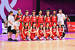 Japan team group (JPN), <br /> AUGUST 15, 2018 - Basketball : Women's Qualification round match between Hong Kong -Japan at Gelora Bung Karno Basket Hall A during the 2018 Jakarta Palembang Asian Games in Jakarta, Indonesia. <br /> (Photo by MATSUO.K/AFLO SPORT)