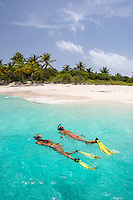 Snorkelers at Sandy Cay<br />