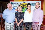 Martin Griffin (Glenbeigh),  Kit Mangan (Abbeyfeale) and Norma Moriarty and Enda O&rsquo;Leary from Killarney members of the  Pedal Hard cycle gang enjoying their celebrations in Stokers Lodge on Saturday night. <br />  .