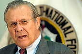 United States Secretary of Defense Donald H. Rumsfeld speaks to the press after a meeting with Commanding General, Multi-National Force Iraq Gen. George Casey Jr. at the U.S. Embassy in Baghdad, Iraq, on April 26, 2006.  Rumsfeld and US Secretary of State Condoleezza Rice will meet jointly with Iraq's newly designated Prime Minister Jawad al-Maliki.  Rumsfeld will also visit with some troops. <br /> Mandatory Credit: Chad J. McNeeley / DoD via CNP