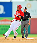 4 March 2011: Washington Nationals infielder Chris Marrero trots into second base with a stand-up double during Spring Training action against the Atlanta Braves at Space Coast Stadium in Viera, Florida. The Braves defeated the Nationals 6-4 in Grapefruit League action. Mandatory Credit: Ed Wolfstein Photo