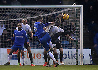 A shot from Gillingham's Max Ehmer is blocked by the hand of Peterborough's Anthony Grant during Gillingham vs Peterborough United, Sky Bet EFL League 1 Football at the MEMS Priestfield Stadium on 10th February 2018