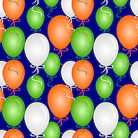 Seamless pattern of balloons in India flag colors and blue background.<br />