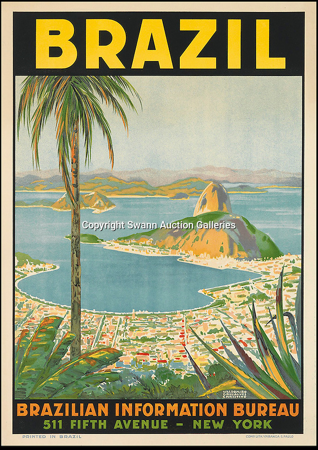 BNPS.co.uk (01202 558833)<br /> Pic: SwannGalleries/BNPS<br /> <br /> ***Please Use Full Byline***<br /> <br /> Rio de Janeiro - £1000<br /> <br /> Beautiful posters from the halcyon days of travel up for auction.<br /> <br /> Scarce vintage travel posters promoting holidays across the globe in the 1920's and 30's are tipped to sell for over £200,000 .<br /> <br /> The fine collection of 200 works of art that hark back to the halcyon days of train and boat travel have been brought together for sale.<br /> <br /> The posters were used to advertise dream holiday destinations in far-flung places such as the US and Australia and to celebrate the luxurious ways of getting to them.<br /> <br /> Most of the advertising posters date back to the 1930s and are Art Deco in style and they are all from the original print-run.