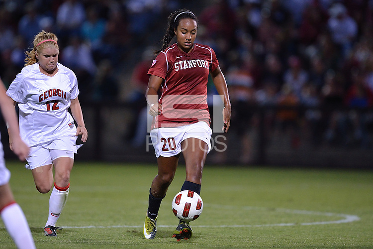 STANFORD, CA - SEPTEMBER 10: Stanford's Mariah Nogueira controls the ball against Georgia in the Stanford Nike Invitational at Laird Q. Cagan Stadium in Stanford, California on September 10, 2010.  Stanford won, 2-1, in OT.