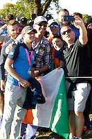 Niall Horan stepping into some of the Irish Supporters pictures during the Friday afternoon fourball at the Ryder Cup, Hazeltine national Golf Club, Chaska, Minnesota, USA.  30/09/2016<br /> Picture: Golffile | Fran Caffrey<br /> <br /> <br /> All photo usage must carry mandatory copyright credit (&copy; Golffile | Fran Caffrey)