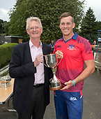 Cricket Scotland - T20 Blitz - Cricket Scotland Chairman Tony Brian presents Eastern Knights captain George Munsey with the Pro50 Trophy - picture by Donald MacLeod - 03.09.08.2017 - 07702 319 738 - clanmacleod@btinternet.com - www.donald-macleod.com