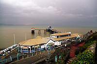 "Mumbles Pier at the seaside village of Mumbles near Swansea, UK. Monday 16 October 2017<br /> Re: Remnants of Hurricane Ophelia are expected to bring strong gusts of wind to Wales when it hits Britain's shores.<br /> The hurricane, making its way from the Azores in the Atlantic Ocean, will have weakened to a storm when it arrives.<br /> A Met Office amber ""be prepared"" warning has been issued in some areas bringing ""potential danger to life""."