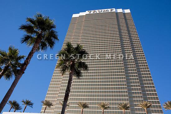 Silhouetted palm trees near Trump International Hotel Las Vegas. Las Vegas, Nevada, USA