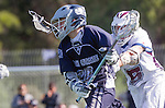 Los Angeles, CA 03/12/16 - Zane Mason (Utah State #20) and Jack Braniff (Loyola Marymount #5) in action during the Utah State vs Loyola Marymount MCLA Men's Division I game at Leavey Field at LMU.  Utah State defeated LMU 17-4.