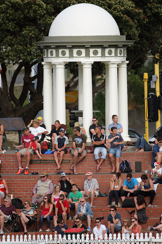 Fans watch from the William Wakefield Memorial during the HRV Cup Twenty20 cricket match between the Wellington Firebirds and Otago Volts at Hawkins Finance Basin Reserve, Wellington, New Zealand on Friday, 11 January 2013. Photo: Dave Lintott / lintottphoto.co.nz