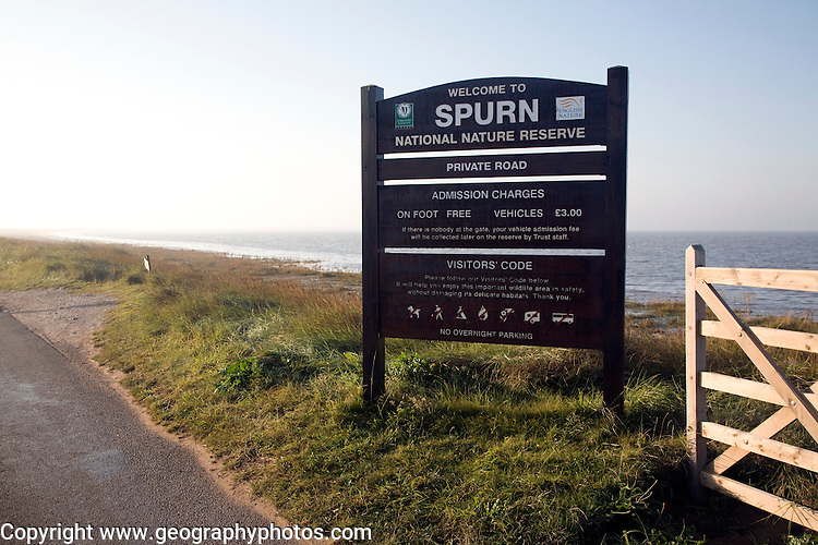 National Nature Reserve sign, Spurn Head, Yorkshire, England