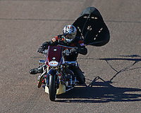 Feb 27, 2016; Chandler, AZ, USA; NHRA top fuel Harley motorcycle rider Ron Gledhill during qualifying for the Carquest Nationals at Wild Horse Pass Motorsports Park. Mandatory Credit: Mark J. Rebilas-