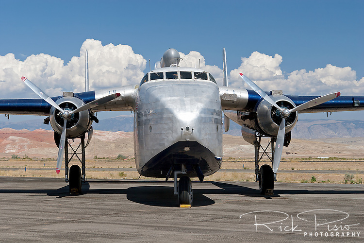 The Hawkins and Powers Fairchild C-82 Packet sits on the Greybull, Wyoming, tarmac prior to being auctioned in August of 2006. <br />