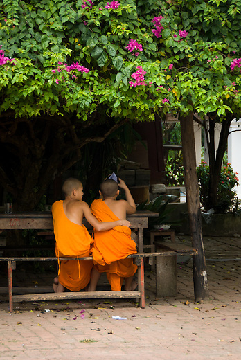 While they live a modest spiritual life in the monastery, the young novice monks welcome many of the 21st century conveniences like cell phones and internet. . It is not uncommon to see young Buddhist monks in a friendly embrace.
