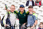 The Hassett brothers from Killorglin Liam, Adrian and Mike pictured at the Kerry v Cork Munster Final held at Páirc Uí Chaoimh, Cork, on Saturday evening last.​