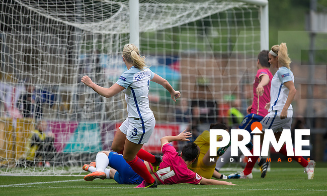Alex Greenwood of England Women scores her goal making it 1 0 during the UEFA Women's Euro 2017 Qualifier match between England Women and Serbia Women at Adams Park, High Wycombe, England on 4 June 2016. Photo by Andy Rowland.