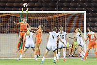 Houston, TX - Saturday July 08, 2017: Portland Thorns FC  Goalkeeper, Adrianna Franch grabs the ball over Cami Privett during a regular season National Women's Soccer League (NWSL) match between the Houston Dash and the Portland Thorns FC at BBVA Compass Stadium.