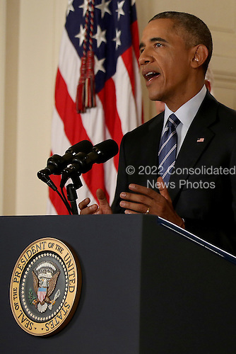 United States President Barack Obama delivers remarks in the East Room of the White House in Washington, Tuesday, July 14, 2015, after an Iran nuclear deal is reached. After 18 days of intense and often fractious negotiation, diplomats Tuesday declared that world powers and Iran had struck a landmark deal to curb Iran's nuclear program in exchange for billions of dollars in relief from international sanctions.<br /> Credit: Andrew Harnik / Pool via CNP