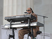 "Washington, DC - January 18, 2009 -- Stevie Wonder performs at the ""We Are One"" , the Obama Inaugural Celebration at the Lincoln Memorial on Sunday, January 18, 2009..Credit: Dennis Brack - Pool via CNP"