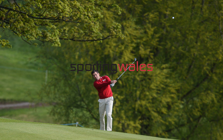 Wale's Gethin Jones Hits a shot off the fairway on the 3rd..Celebrity Cup at Golf Live  - Day 2 - Celtic Manor Resort - Saturday 11th  May  2013 - Newport ..© www.sportingwales.com- PLEASE CREDIT IAN COOK