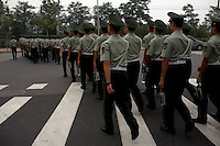 Military police officers patrol the streets near the Olympic Village in Beijing, China on Monday, August 4, 2008. The city of Beijing is gearing up for the opening ceremonies of the Olympic Games.  Kevin German