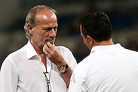 AS Roma's sporting director Walter Sabatini talks to the athletic trainer Vito Scala prior to the start of an Europa League preliminary second leg football match between AS Roma and SK Slovan Bratislava, at Rome's Olympic stadium, Roma, 25 august 2011..UPDATE IMAGES PRESS/Riccardo De Luca