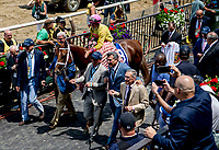 ELMONT, NY - JUNE 09: The connections of #3, Monomoy Girl walk to the winner's circle after her victory in the Acorn Stakes during Belmont Stakes Day at Belmont Park on June 9, 2018 in Elmont, New York. (Photo by Scott Serio/Eclipse Sportswire/Getty Images)