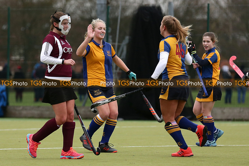 Upminster score their first goal during Upminster HC Ladies 2nd XI vs Wapping HC Ladies 3rd XI, Essex Women's League Field Hockey at the Coopers Company and Coborn School on 12th January 2019