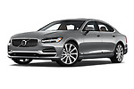 Stock pictures of low aggressive front three quarter view of a 2018 Volvo S90 Inscription PHEV T8 AWD 4 Door Sedan