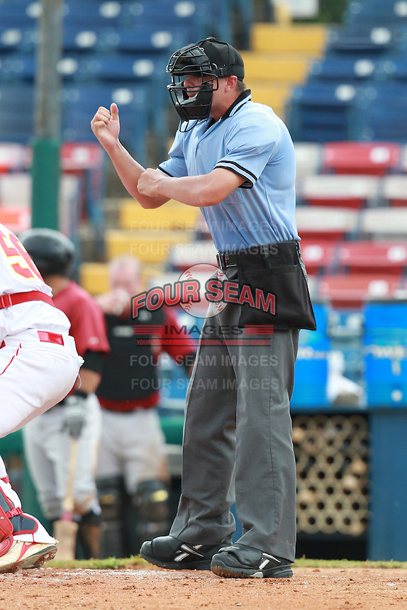 Home plate umpire Dustin Klinghagen during a game between the China National Team and Houston Astros Instructional League team at Holman Stadium in Vero Beach, Florida September 28, 2010.   Photo By Mike Janes/Four Seam Images