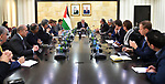 Palestinian Prime Minister Mohammad Ishtayeh, meets with meets with the international Bank, in the West Bank city of Ramallah, on January 15, 2020. Photo by Prime Minister Office